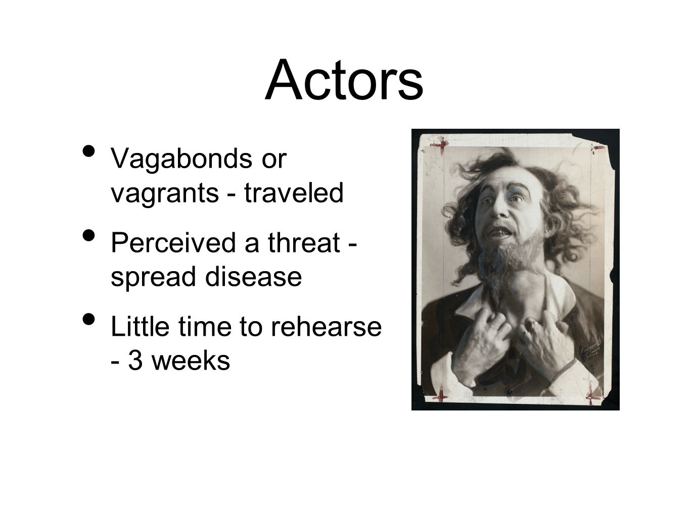 Actors Vagabonds or vagrants - traveled Perceived a threat - spread disease Little time to rehearse - 3 weeks
