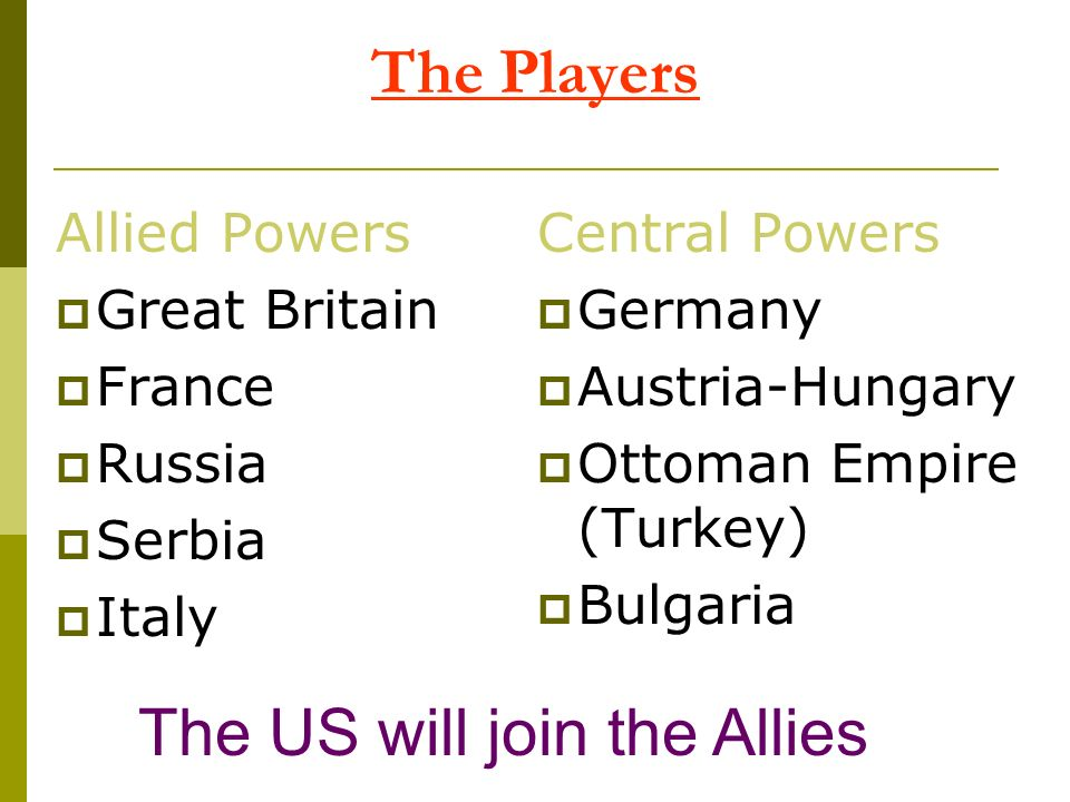 Allied Powers Great Britain France Russia Serbia Italy Central Powers Germany Austria-Hungary Ottoman Empire (Turkey) Bulgaria The Players The US will