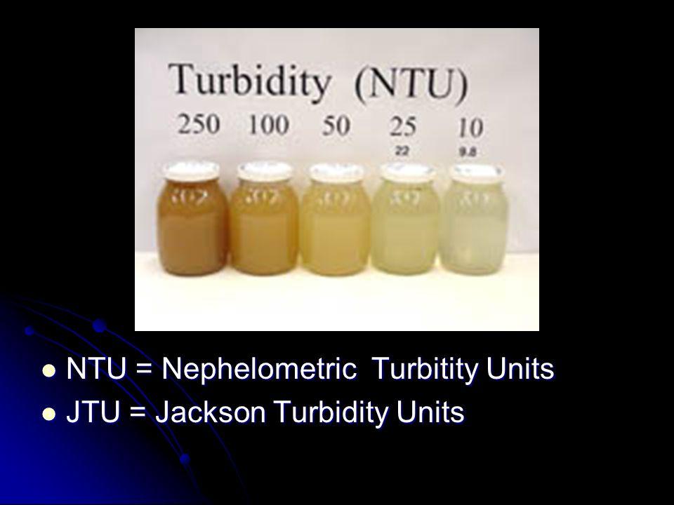 NTU = Nephelometric Turbitity Units NTU = Nephelometric Turbitity Units JTU = Jackson Turbidity Units JTU = Jackson Turbidity Units