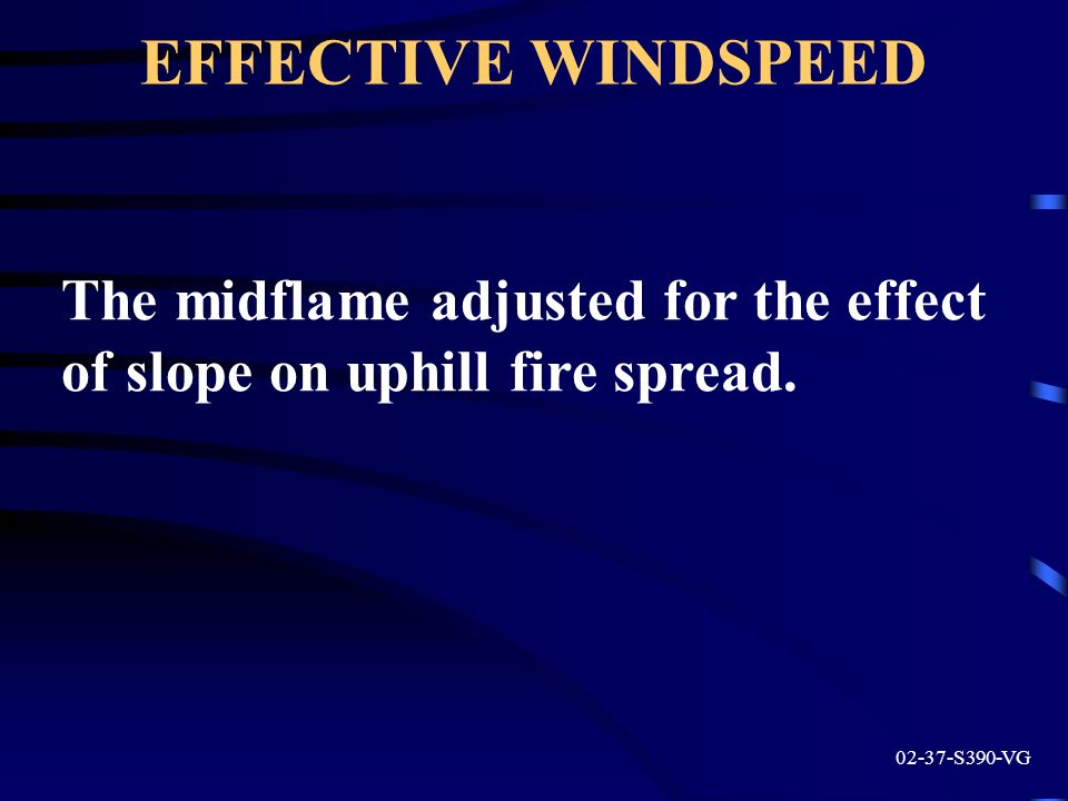 EFFECTIVE WINDSPEED 02-37-S390-VG The midflame adjusted for the effect of slope on uphill fire spread.