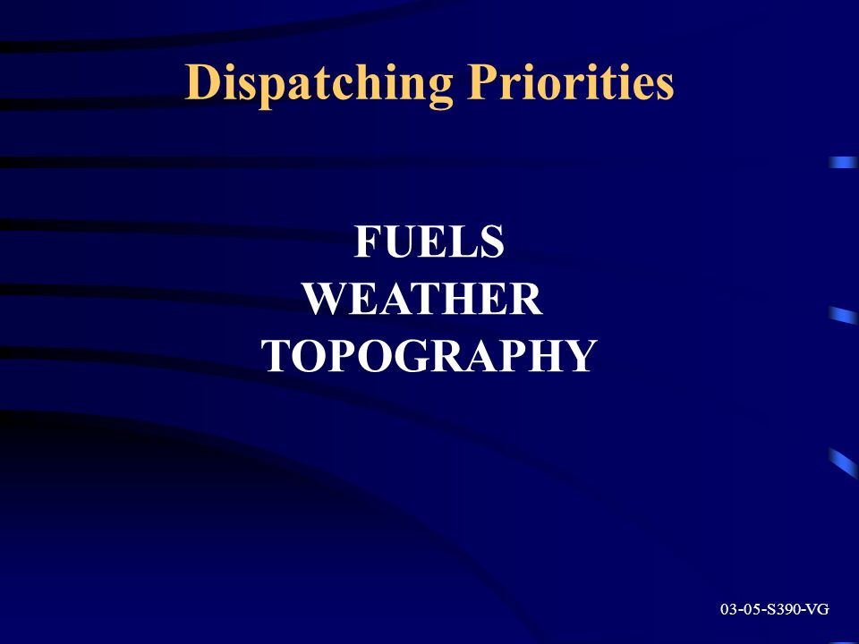 Dispatching Priorities 03-05-S390-VG FUELS WEATHER TOPOGRAPHY