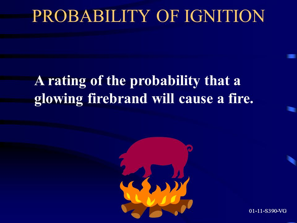 PROBABILITY OF IGNITION 01-11-S390-VG A rating of the probability that a glowing firebrand will cause a fire.