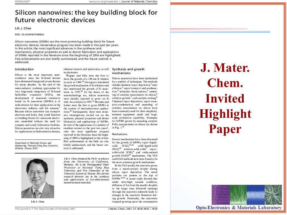 Opto-Electronics & Materials Laboratory J. Mater. Chem. Invited Highlight Paper