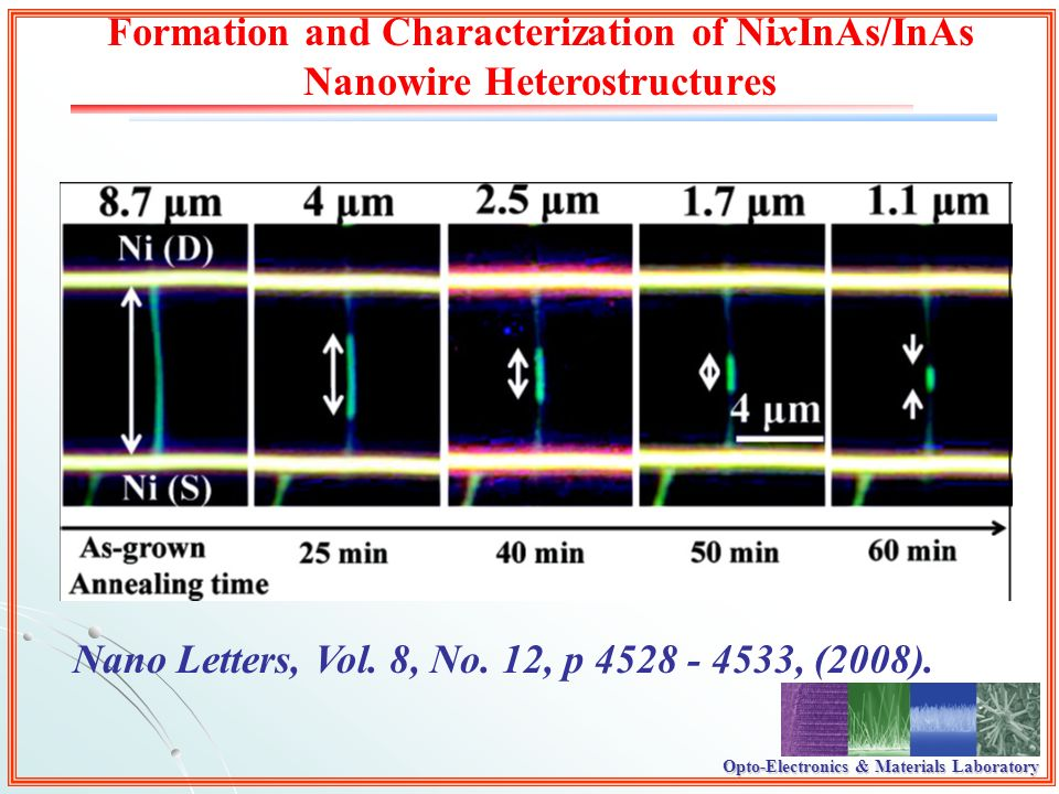 Opto-Electronics & Materials Laboratory Formation and Characterization of NixInAs/InAs Nanowire Heterostructures Nano Letters, Vol.