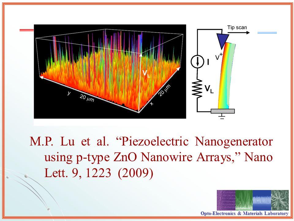 Opto-Electronics & Materials Laboratory M.P. Lu et al. Piezoelectric Nanogenerator using p-type ZnO Nanowire Arrays, Nano Lett. 9, 1223 (2009)