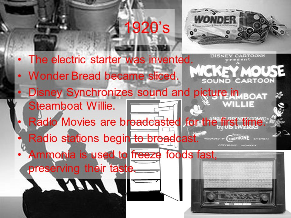 1920s The electric starter was invented. Wonder Bread became sliced.