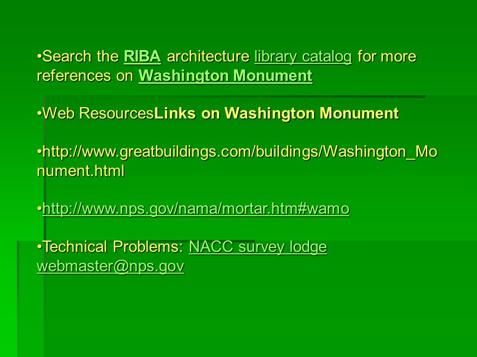 Search the RIBA architecture library catalog for more references on Washington MonumentSearch the RIBA architecture library catalog for more reference
