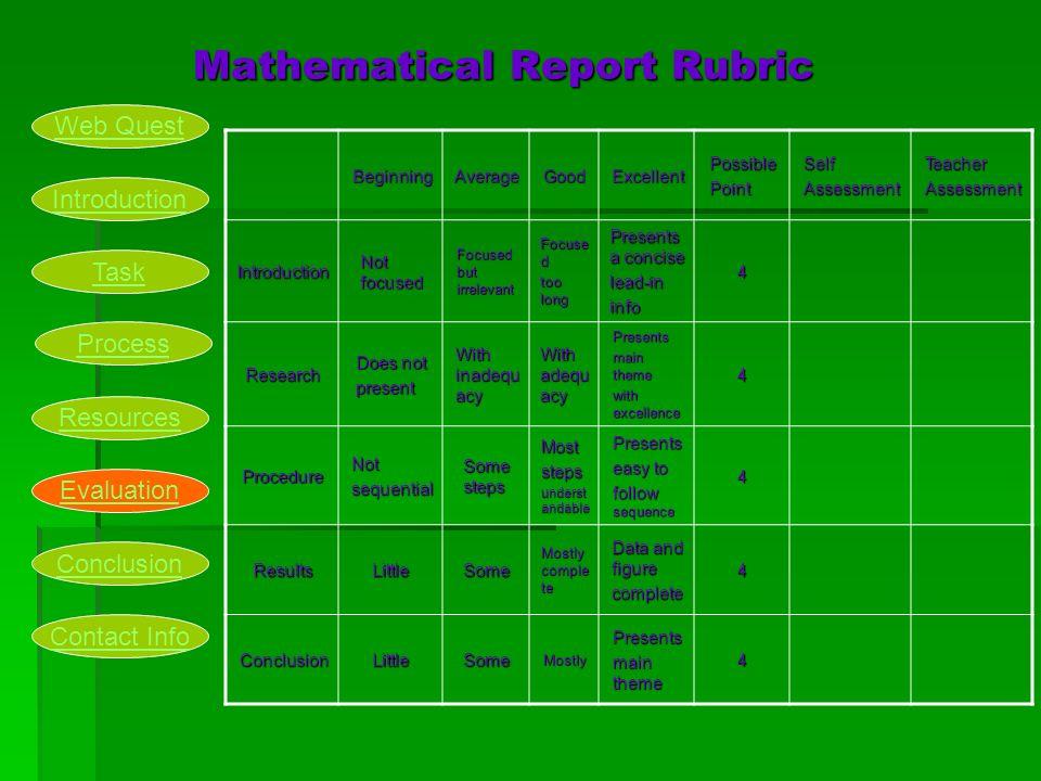 Mathematical Report Rubric Mathematical Report RubricBeginningAverageGoodExcellentPossiblePointSelfAssessmentTeacherAssessment Introduction Not focuse