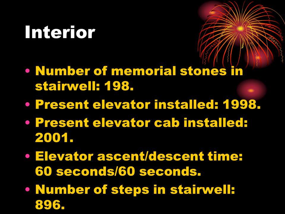 Interior Number of memorial stones in stairwell: 198. Present elevator installed: 1998. Present elevator cab installed: 2001. Elevator ascent/descent