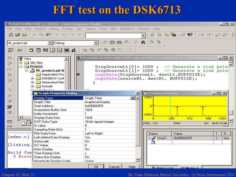Dr. Naim Dahnoun, Bristol University, (c) Texas Instruments 2004 Chapter 19, Slide 51 FFT test on the DSK6713