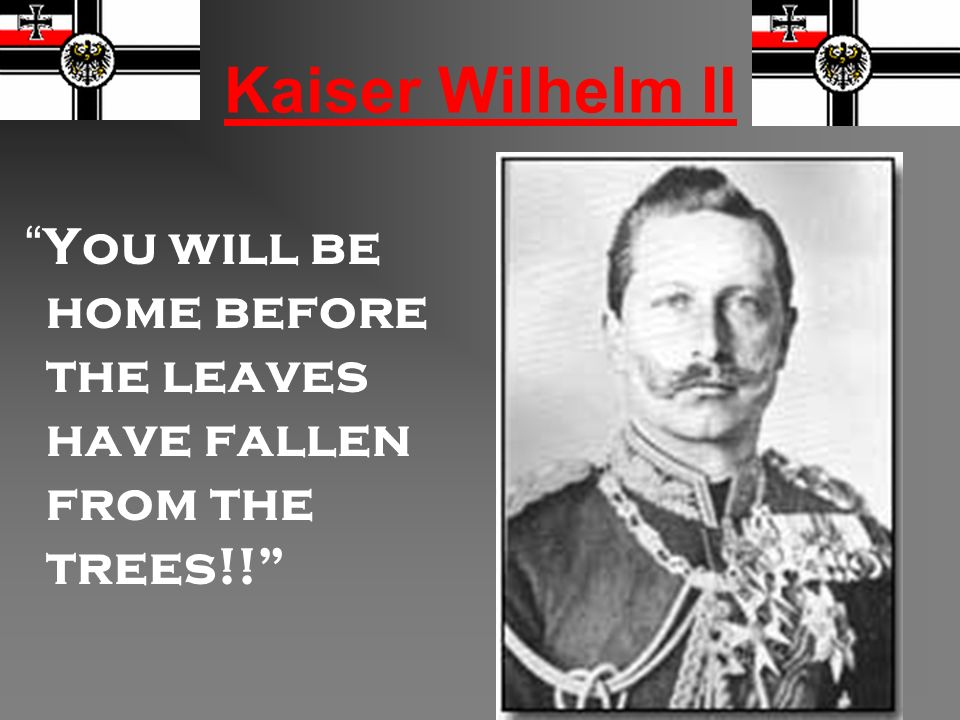 Kaiser Wilhelm II You will be home before the leaves have fallen from the trees!!