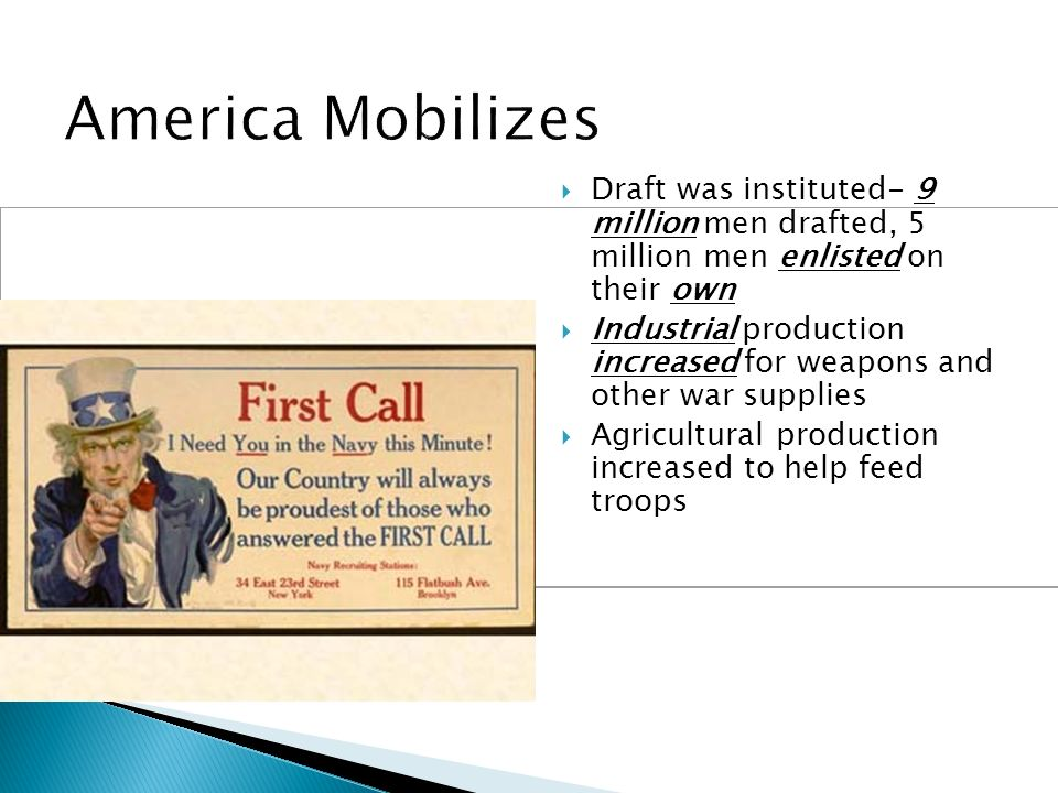 American Opposition to the War Quakers, Mennonites and Amish (pacifists) Socialists-argued that America was in the war to help out big business Womens