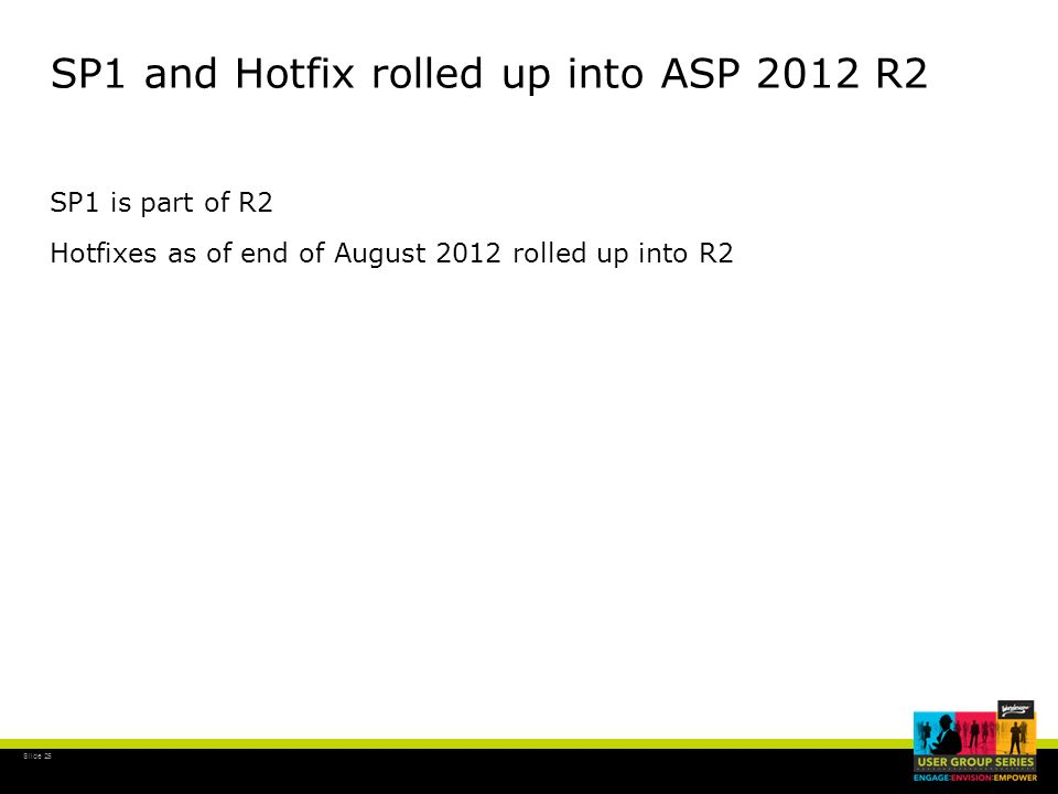 Slide 25 SP1 and Hotfix rolled up into ASP 2012 R2 SP1 is part of R2 Hotfixes as of end of August 2012 rolled up into R2