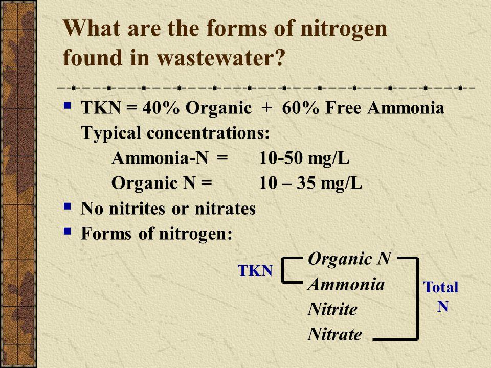 TKN = 40% Organic + 60% Free Ammonia Typical concentrations: Ammonia-N = 10-50 mg/L Organic N = 10 – 35 mg/L No nitrites or nitrates Forms of nitrogen