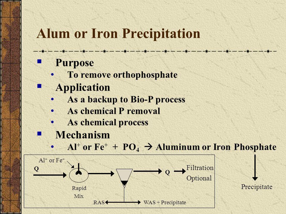 Alum or Iron Precipitation Purpose To remove orthophosphate Application As a backup to Bio-P process As chemical P removal As chemical process Mechani