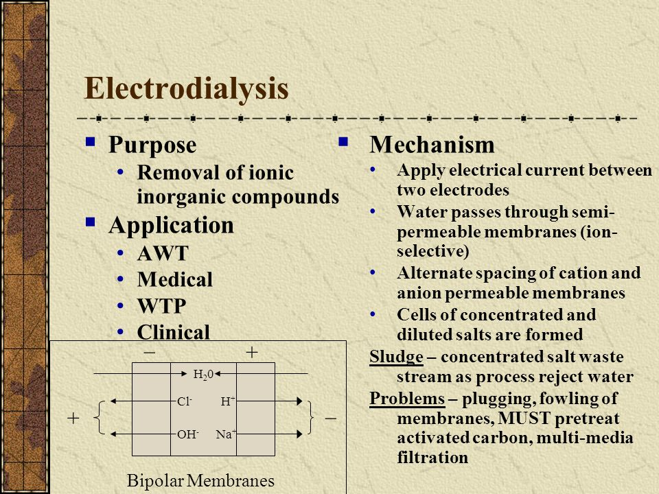 Electrodialysis Purpose Removal of ionic inorganic compounds Application AWT Medical WTP Clinical Mechanism Apply electrical current between two elect