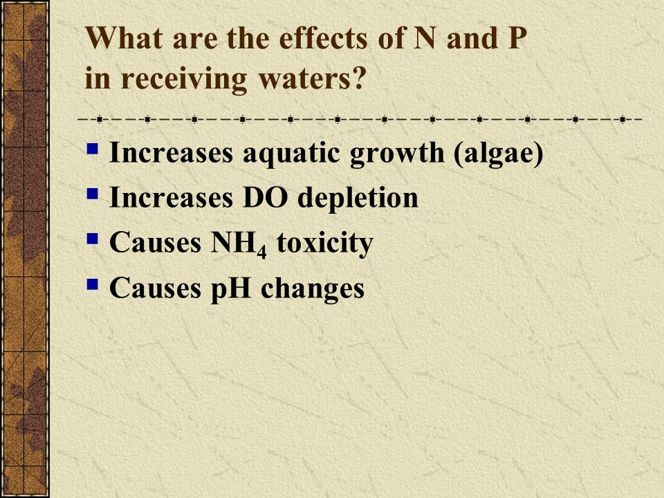 Ammonia Stripping Purpose Reduce ammonia either before or after biological treatment Not commonly used in the US Application / Mechanism Raise pH 10.8 to 11.5, usually by adding lime Move equilibrium point to ammonia gas @ 25 0 C and pH 11 NH 4 gas = 98%