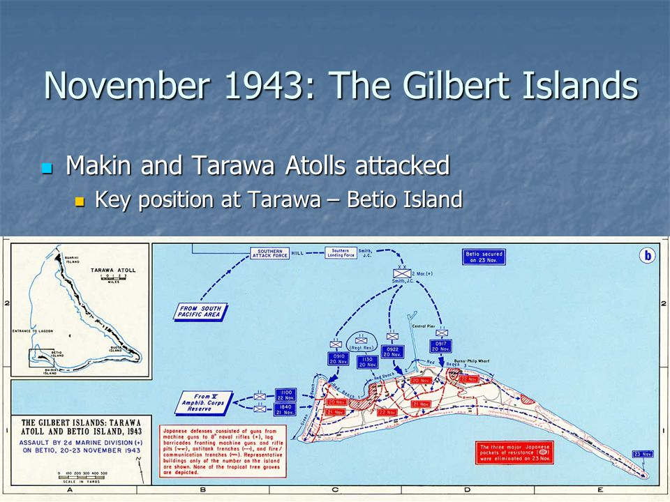 November 1943: The Gilbert Islands Makin and Tarawa Atolls attacked Makin and Tarawa Atolls attacked Key position at Tarawa – Betio Island Key position at Tarawa – Betio Island