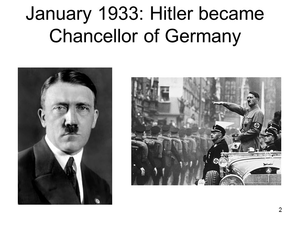 2 January 1933: Hitler became Chancellor of Germany