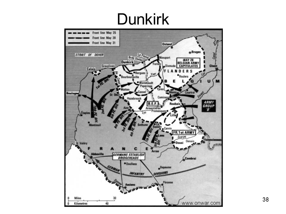 37 Germanys Attack in Europe Denmark, Holland Norway (Quisling) Belgium and France –Dunkirk Britain –Winston Churchill