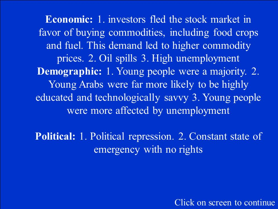 Name one example of an economic, demographic, and social/political cause of the Arab Spring.