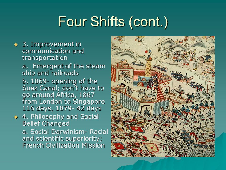 Four Shifts (cont.) 3. Improvement in communication and transportation 3. Improvement in communication and transportation a. Emergent of the steam shi