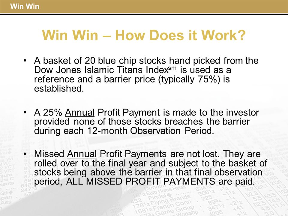 Win Win – How Does it Work? A basket of 20 blue chip stocks hand picked from the Dow Jones Islamic Titans Index sm is used as a reference and a barrie