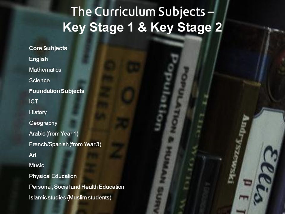 The Curriculum Subjects – Key Stage 1 & Key Stage 2 Core Subjects English Mathematics Science Foundation Subjects ICT History Geography Arabic (from Y