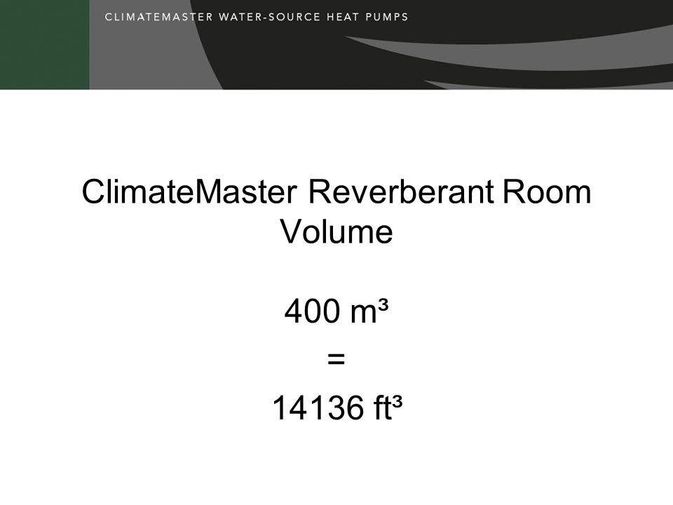 ClimateMaster Reverberant Room Volume 400 m³ = 14136 ft³