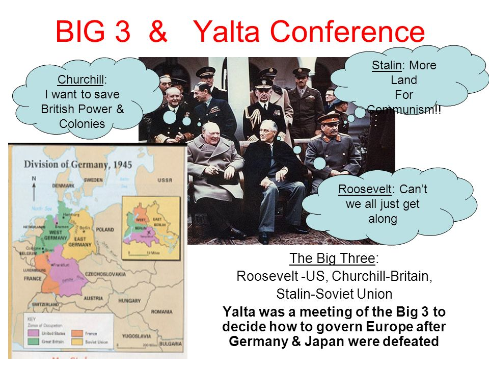 BIG 3 & Yalta Conference The Big Three: Roosevelt -US, Churchill-Britain, Stalin-Soviet Union Yalta was a meeting of the Big 3 to decide how to govern