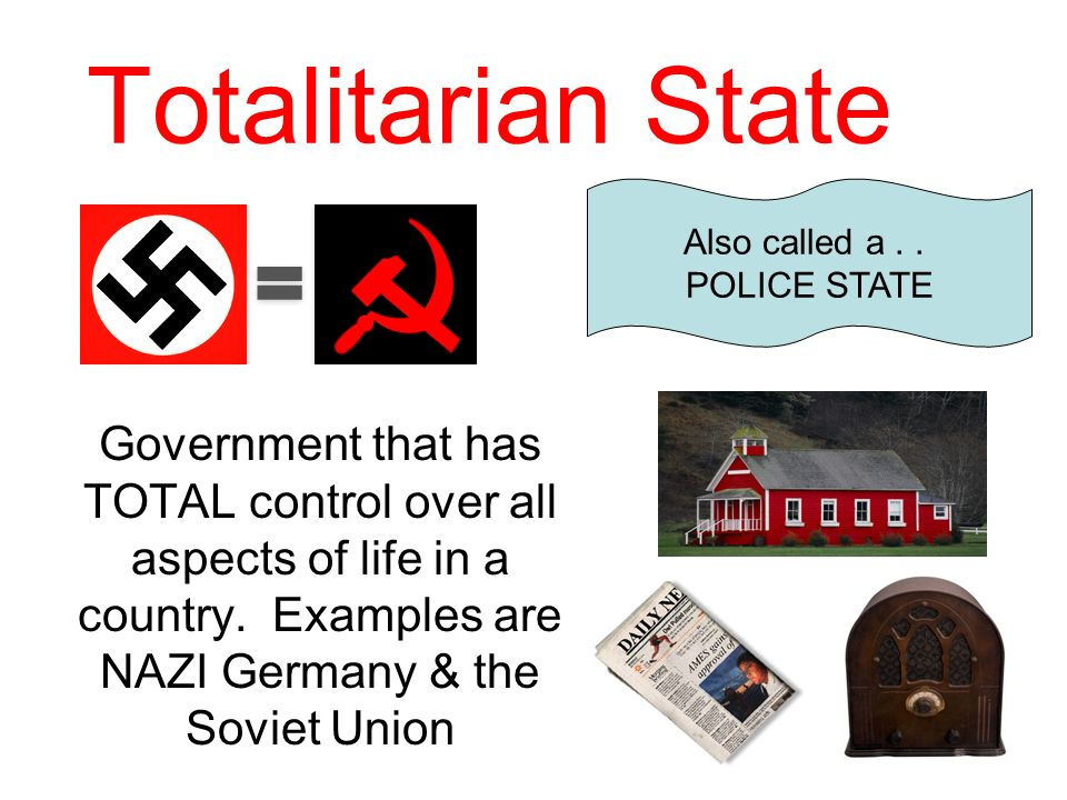 Totalitarian State Government that has TOTAL control over all aspects of life in a country. Examples are NAZI Germany & the Soviet Union Also called a