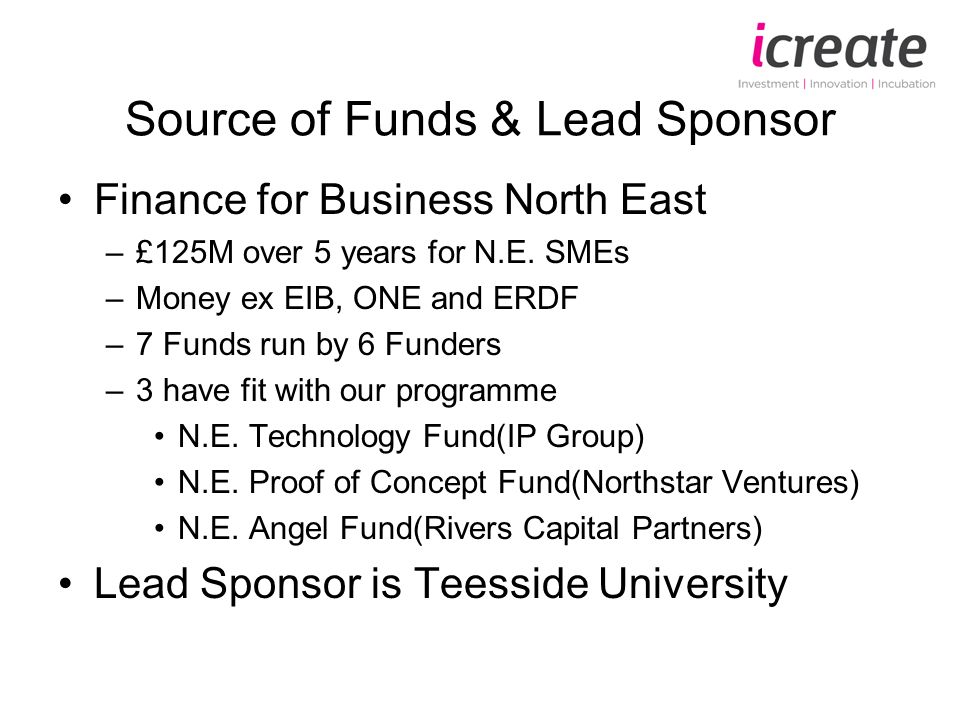 Source of Funds & Lead Sponsor Finance for Business North East –£125M over 5 years for N.E.