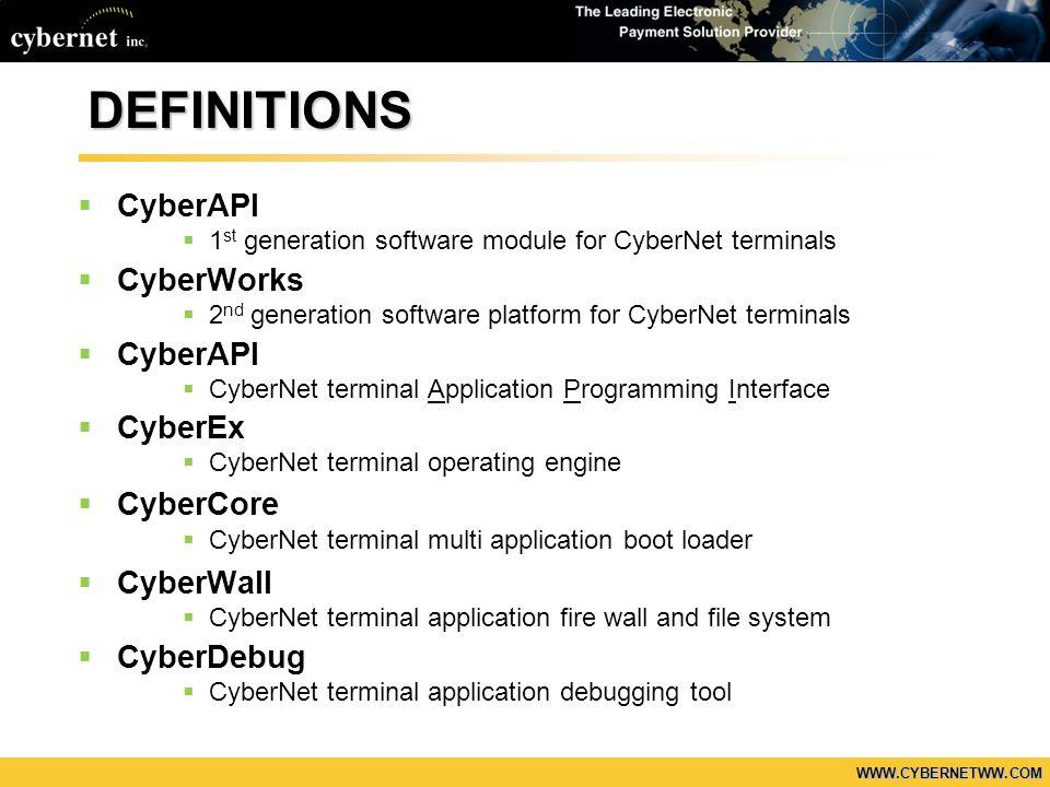 WWW.CYBERNETWW.COM DEFINITIONS CyberAPI 1 st generation software module for CyberNet terminals CyberWorks 2 nd generation software platform for CyberN