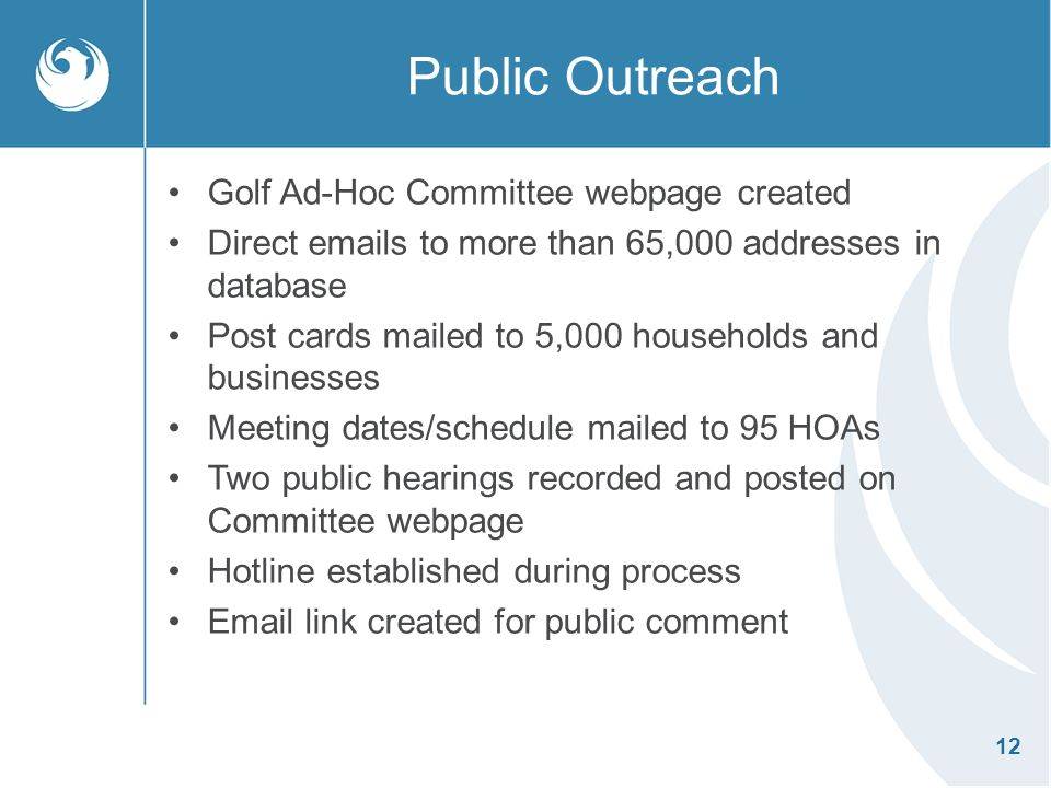 12 Public Outreach Golf Ad-Hoc Committee webpage created Direct emails to more than 65,000 addresses in database Post cards mailed to 5,000 households