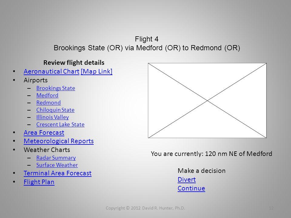Flight 4 Brookings State (OR) via Medford (OR) to Redmond (OR) Review flight details Aeronautical Chart [Map Link] Aeronautical Chart[Map Link] Airpor
