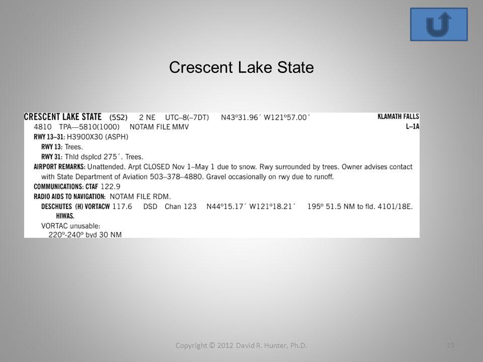 Crescent Lake State Copyright © 2012 David R. Hunter, Ph.D.19