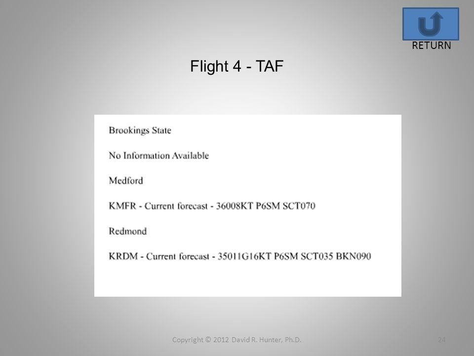 Flight 4 - TAF Copyright © 2012 David R. Hunter, Ph.D.24 RETURN
