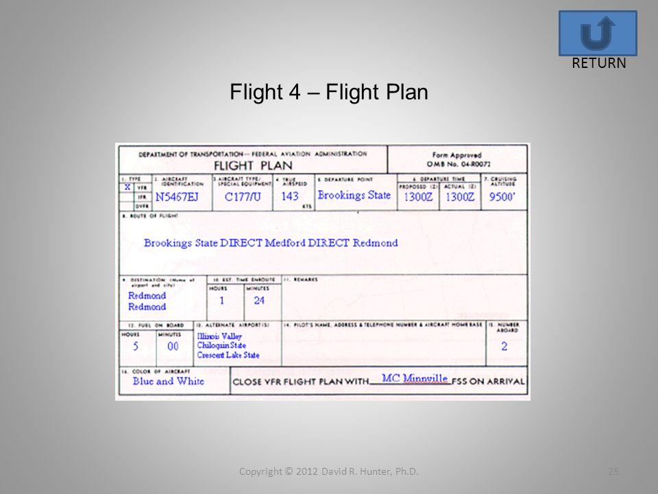 Flight 4 – Flight Plan Copyright © 2012 David R. Hunter, Ph.D.25 RETURN