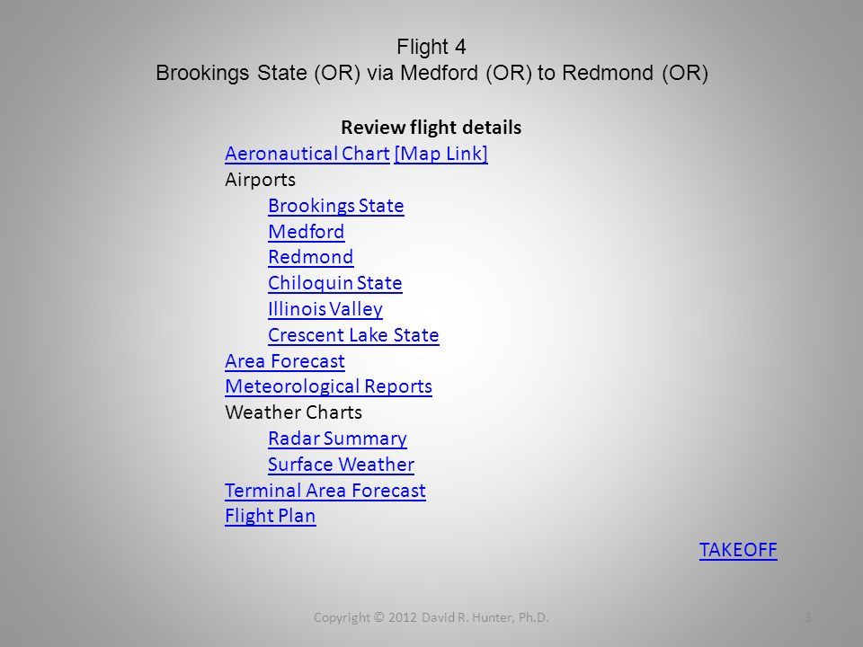 Flight 4 Brookings State (OR) via Medford (OR) to Redmond (OR) Copyright © 2012 David R. Hunter, Ph.D.3 Review flight details Aeronautical ChartAerona