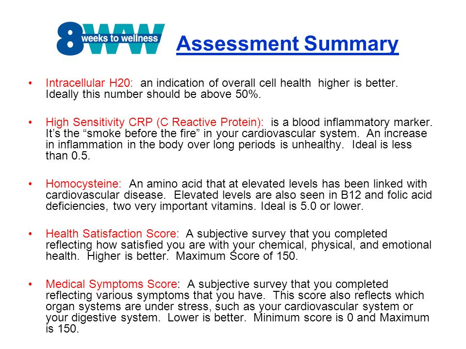 Assessment Summary Intracellular H20: an indication of overall cell health higher is better. Ideally this number should be above 50%. High Sensitivity