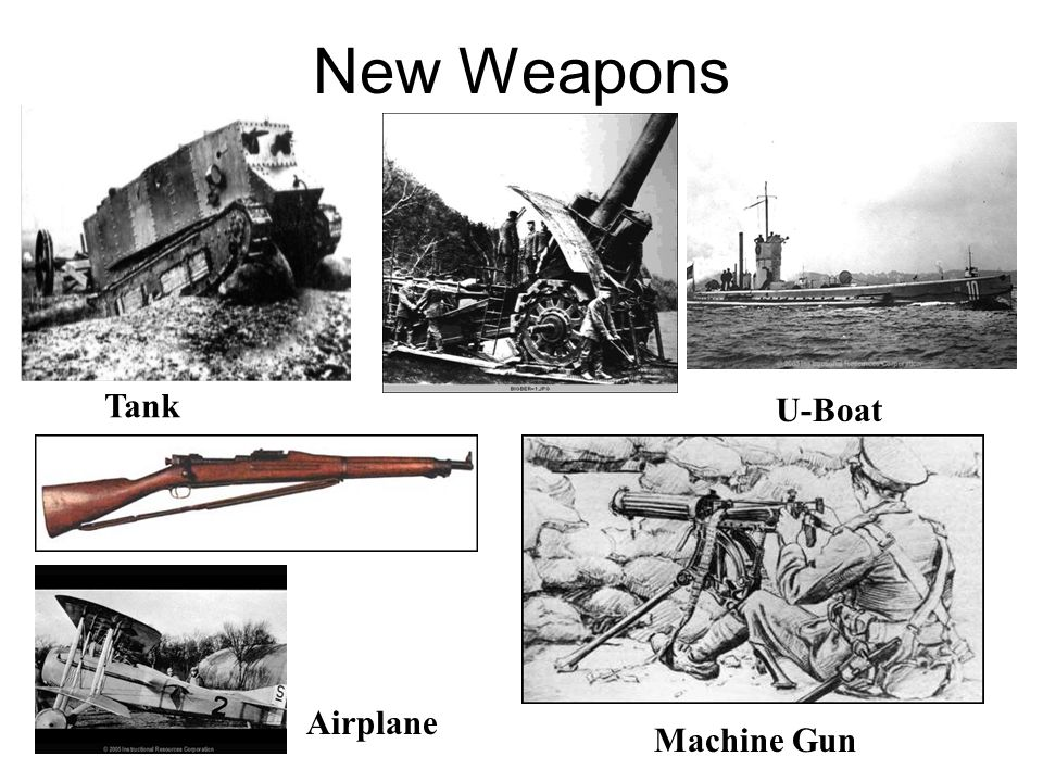 New Weapons Tank U-Boat Machine Gun Airplane