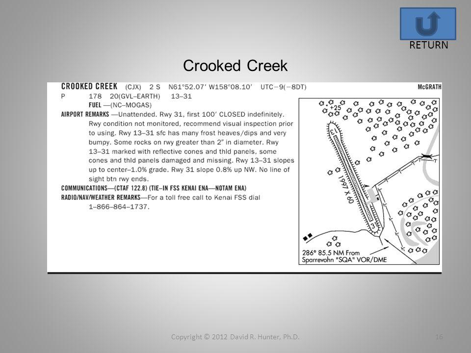 Crooked Creek Copyright © 2012 David R. Hunter, Ph.D.16 RETURN