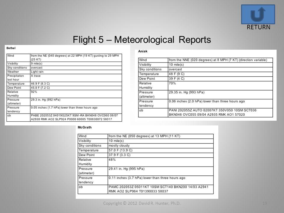 Flight 5 – Meteorological Reports Copyright © 2012 David R. Hunter, Ph.D.19 RETURN