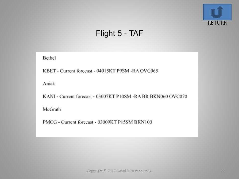 Flight 5 - TAF Copyright © 2012 David R. Hunter, Ph.D.22 RETURN