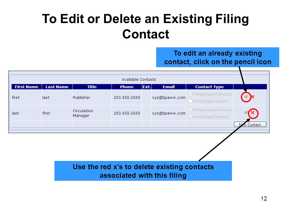 12 To Edit or Delete an Existing Filing Contact Use the red xs to delete existing contacts associated with this filing To edit an already existing con