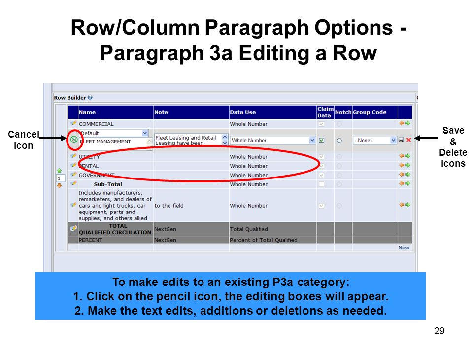 29 Row/Column Paragraph Options - Paragraph 3a Editing a Row To make edits to an existing P3a category: 1. Click on the pencil icon, the editing boxes