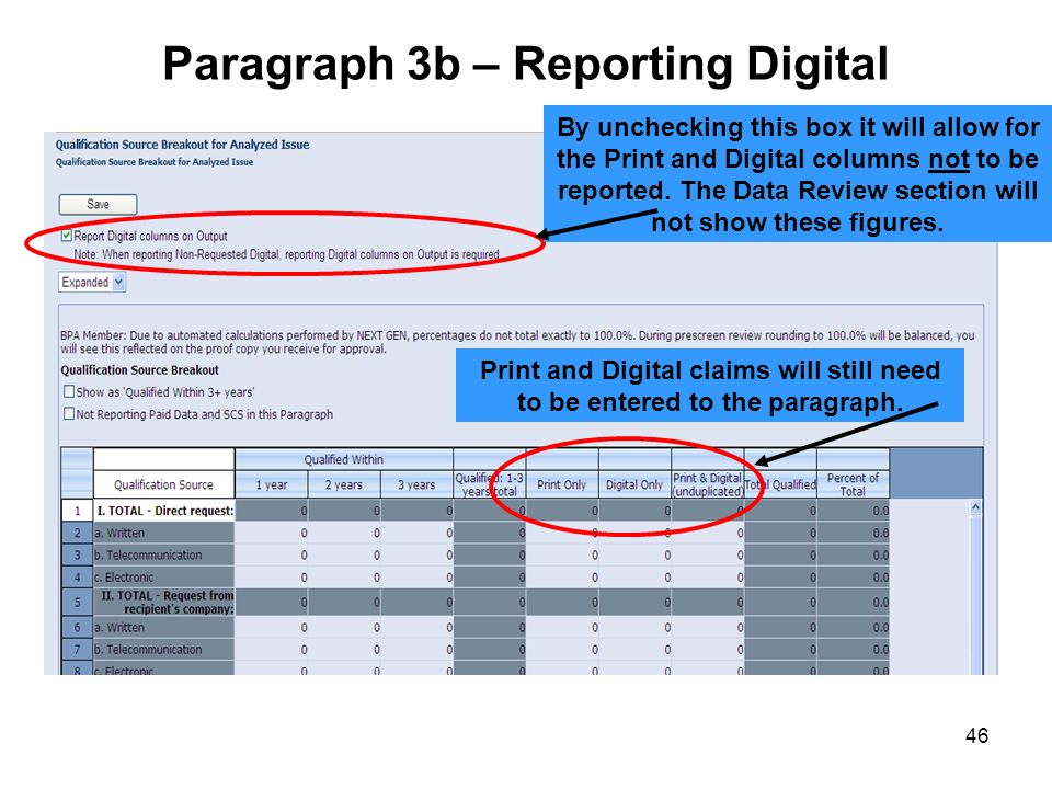 46 Paragraph 3b – Reporting Digital By unchecking this box it will allow for the Print and Digital columns not to be reported. The Data Review section