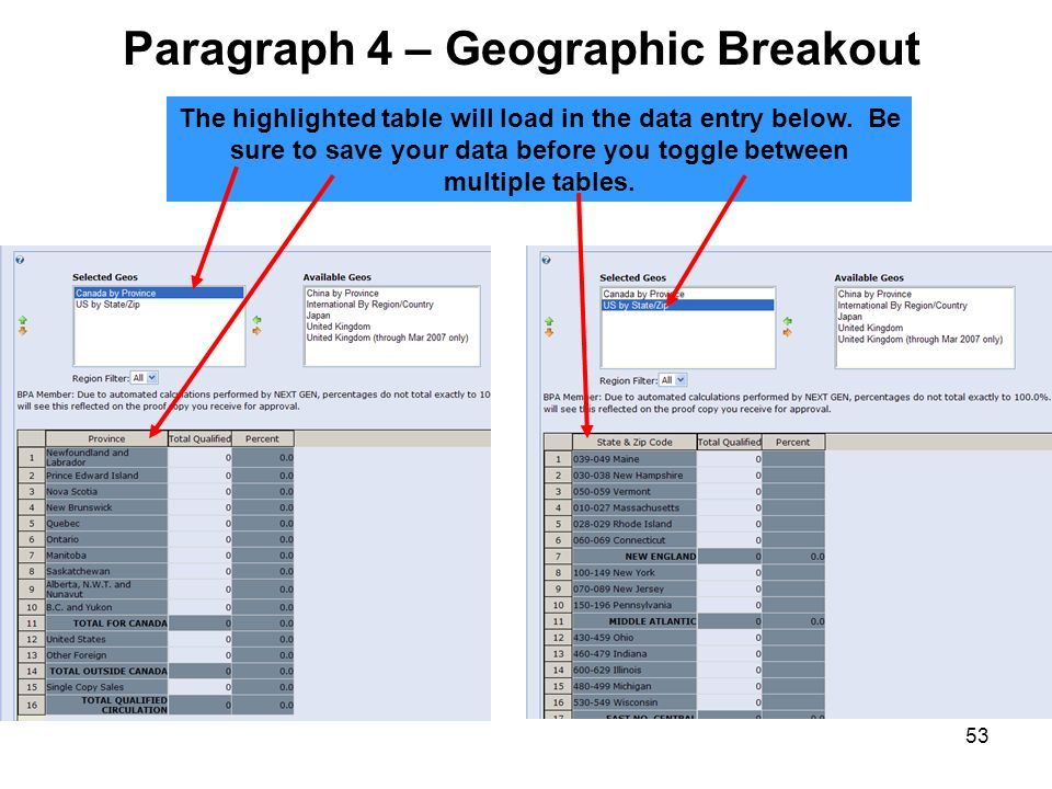 53 The highlighted table will load in the data entry below. Be sure to save your data before you toggle between multiple tables. Paragraph 4 – Geograp