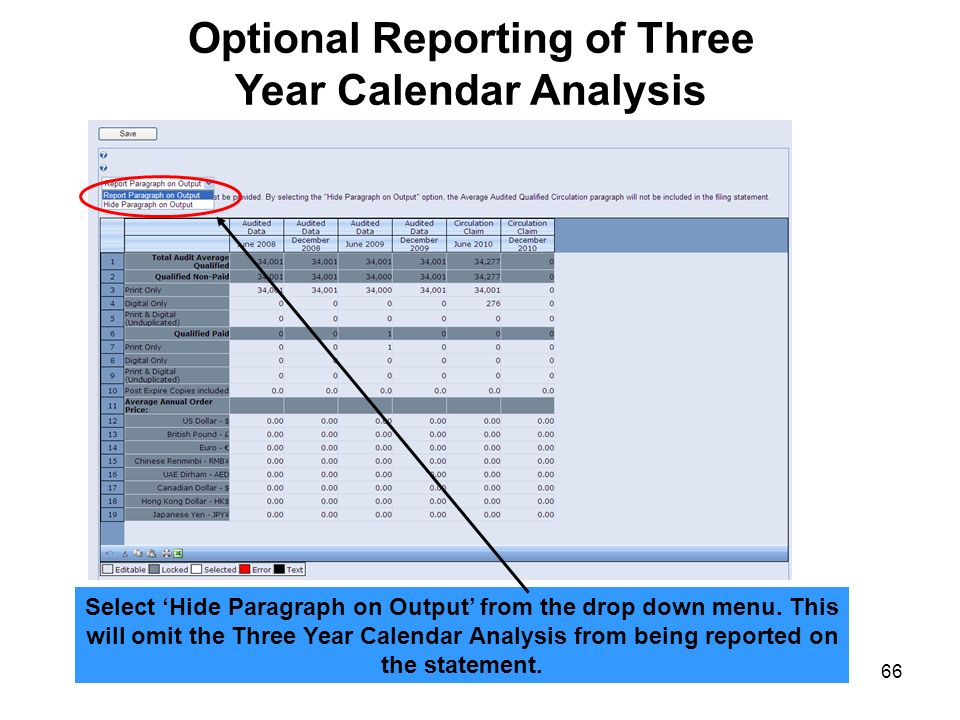66 Optional Reporting of Three Year Calendar Analysis Select Hide Paragraph on Output from the drop down menu. This will omit the Three Year Calendar