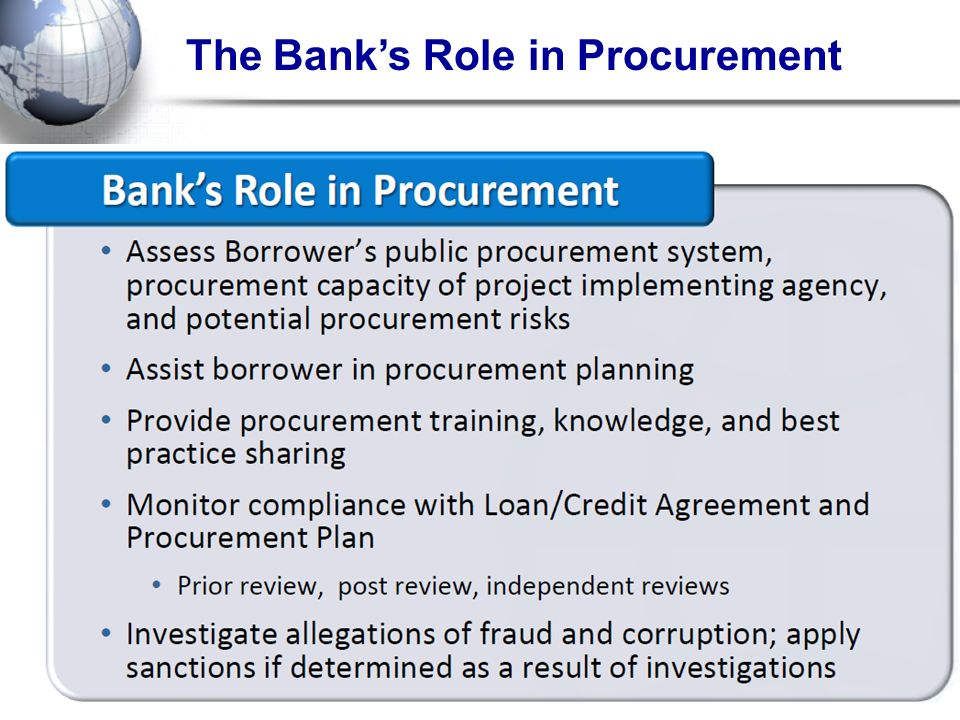 The Banks Role in Procurement